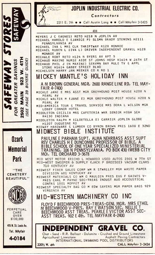 1964 joplin mo city directory