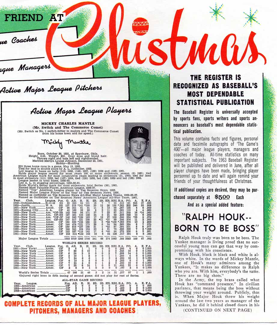 1962 Sporting News baseball register ad