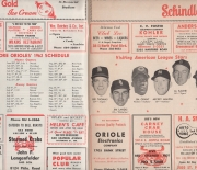 1962 official oriole score card and review