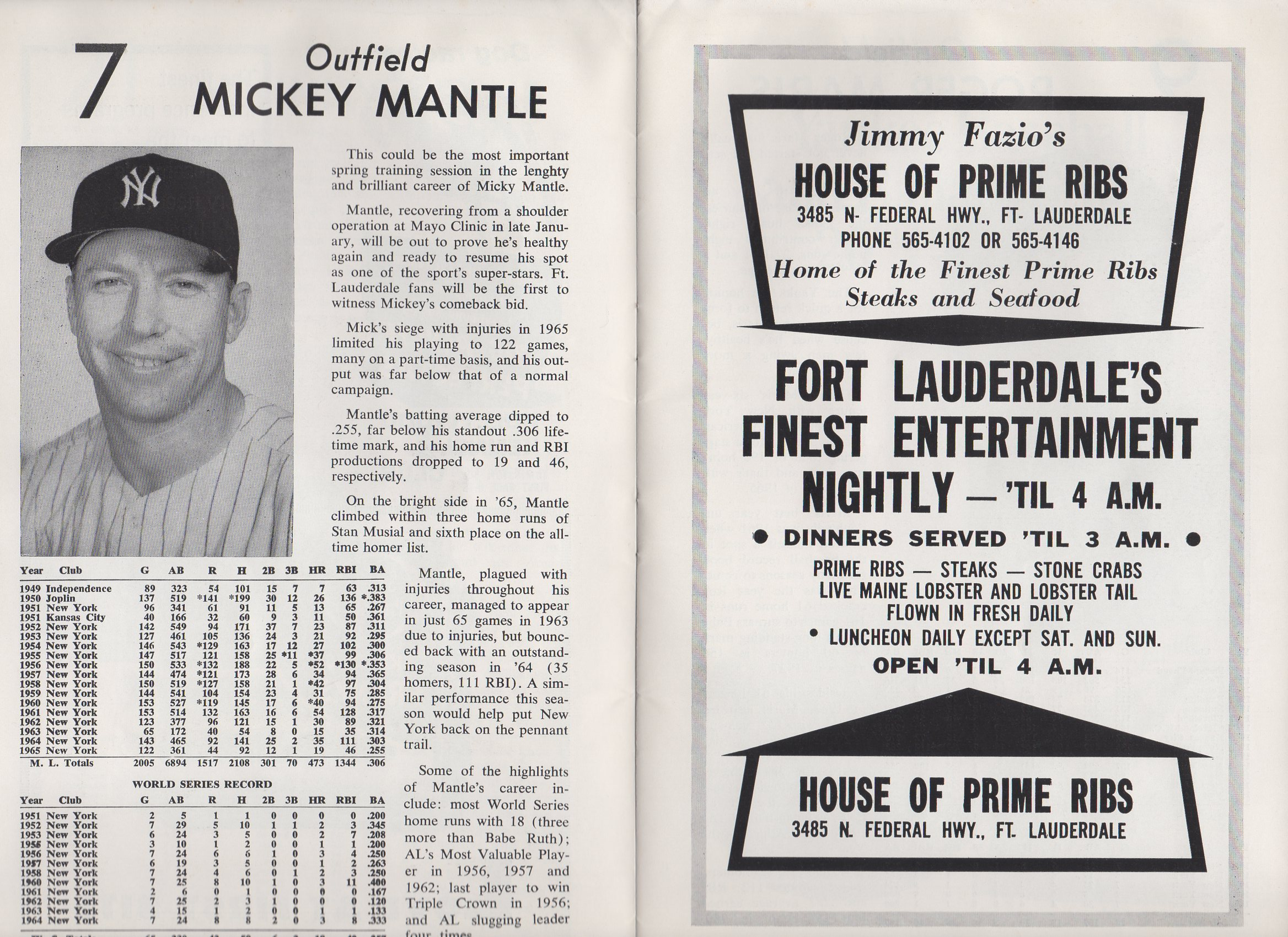 1966 yankees official spring guidebook program, ft. lauderdale, fl.