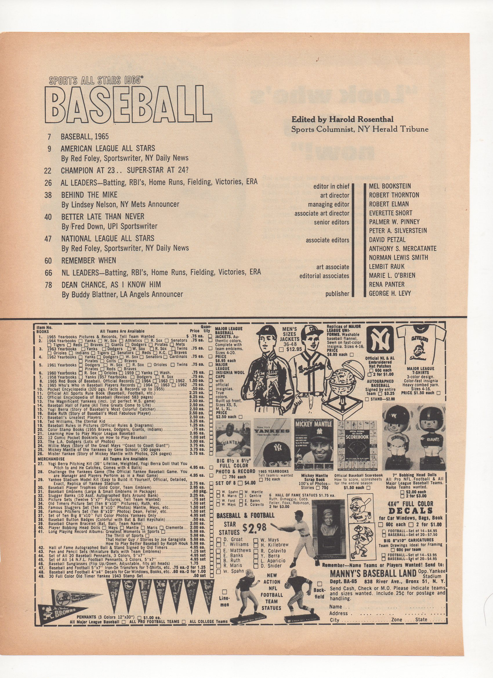 1965 baseball sports all stars, maco sports series
