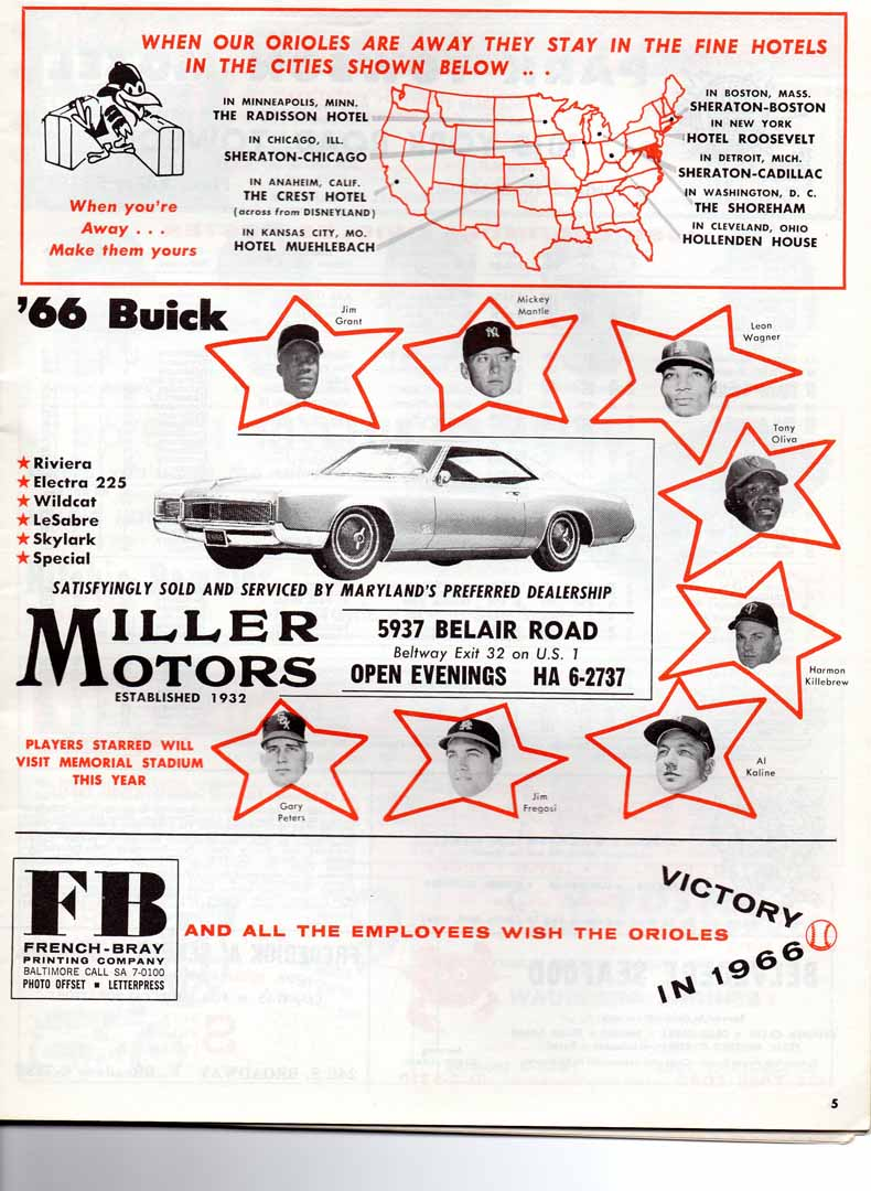 1966 baltimore orioles scorebook 04/17