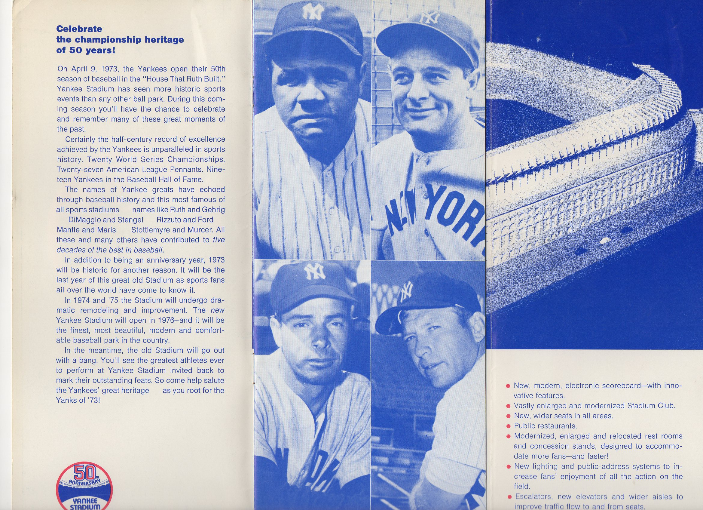 1973 new york yankees brochure