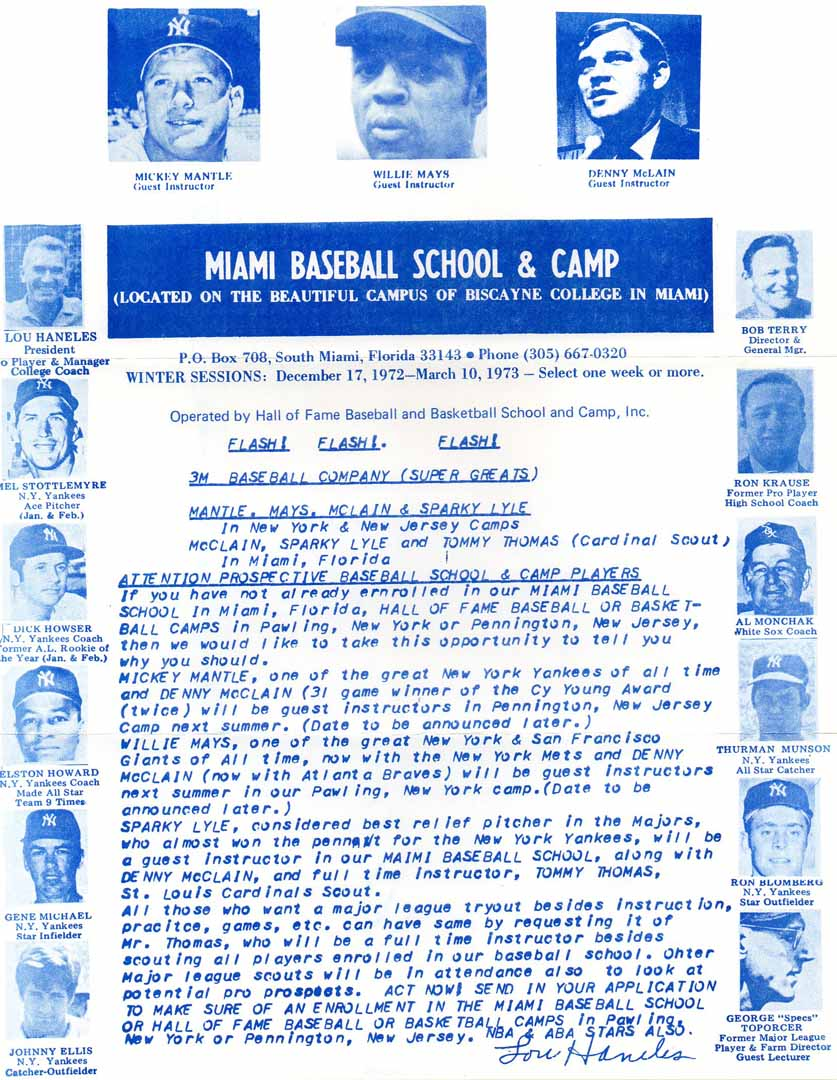 1973 miami baseball school camp
