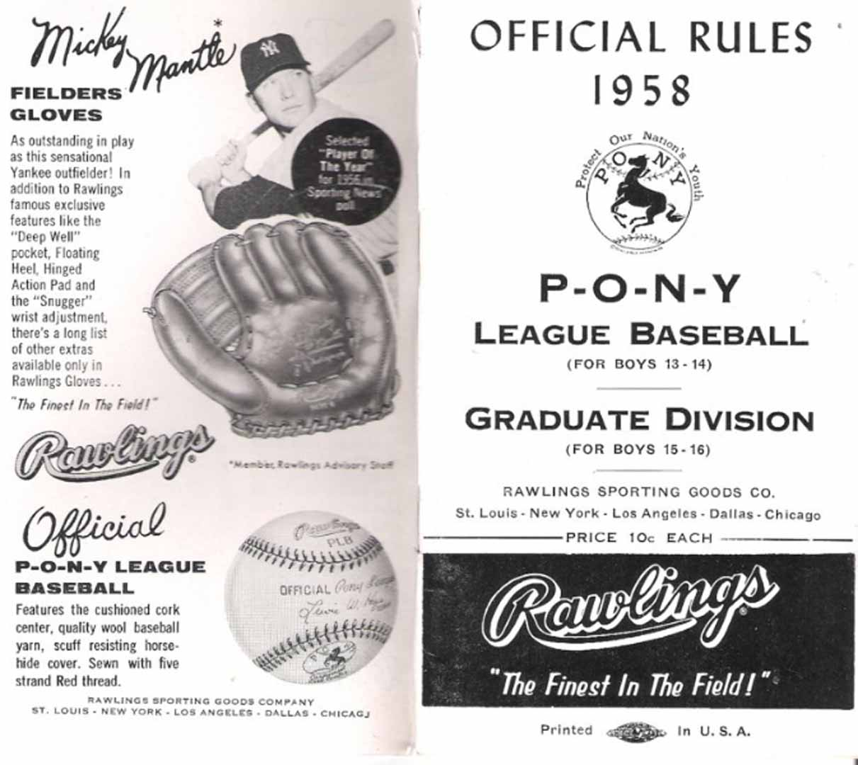 1958 pony league baseball official rules