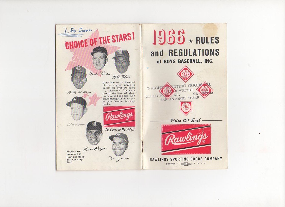 1966 rawlings rules and regulations, boys baseball