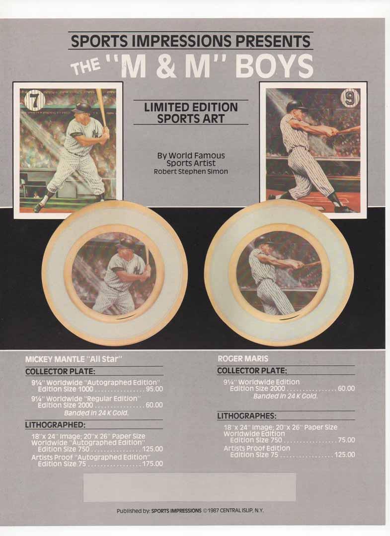 1987 sports impressions blank back flyer