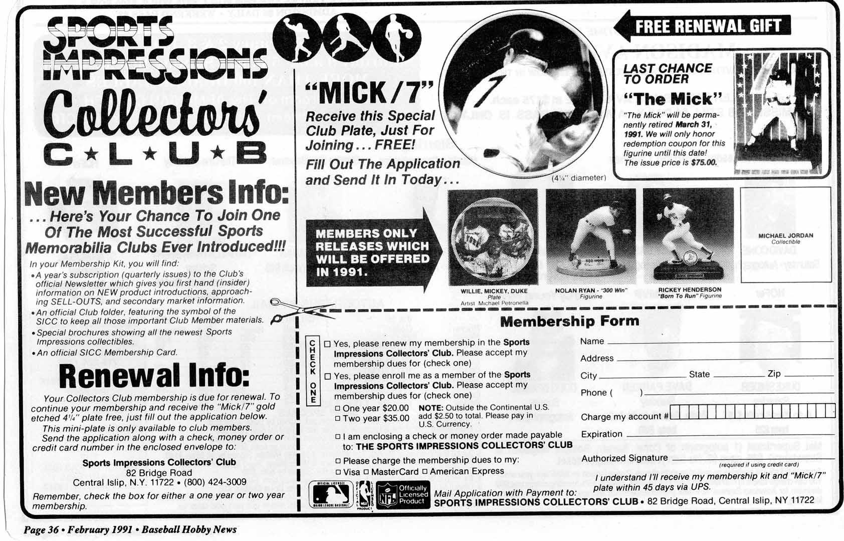 1991 baseball hobby news feb.