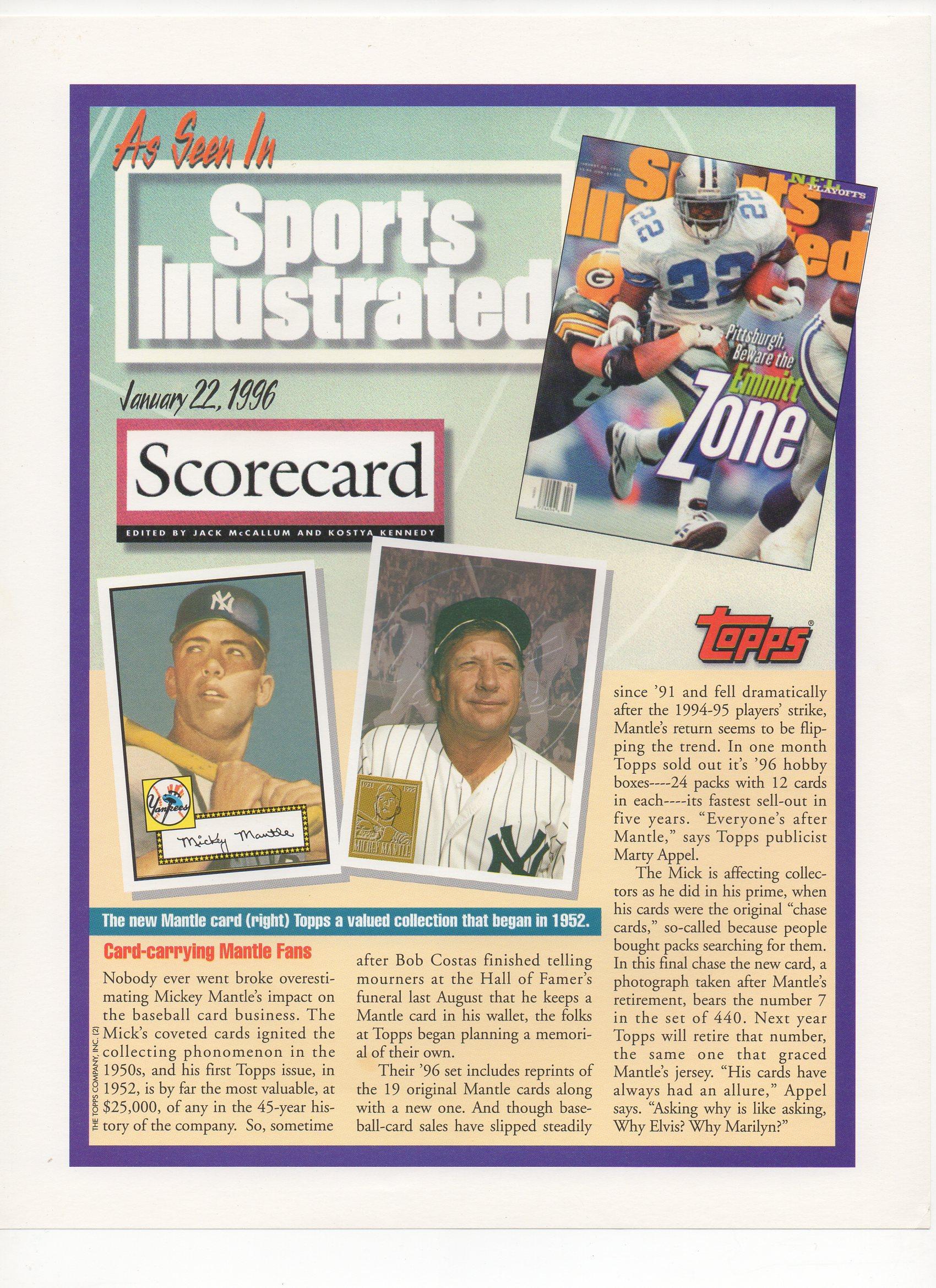 1996 topps, blank back flyer