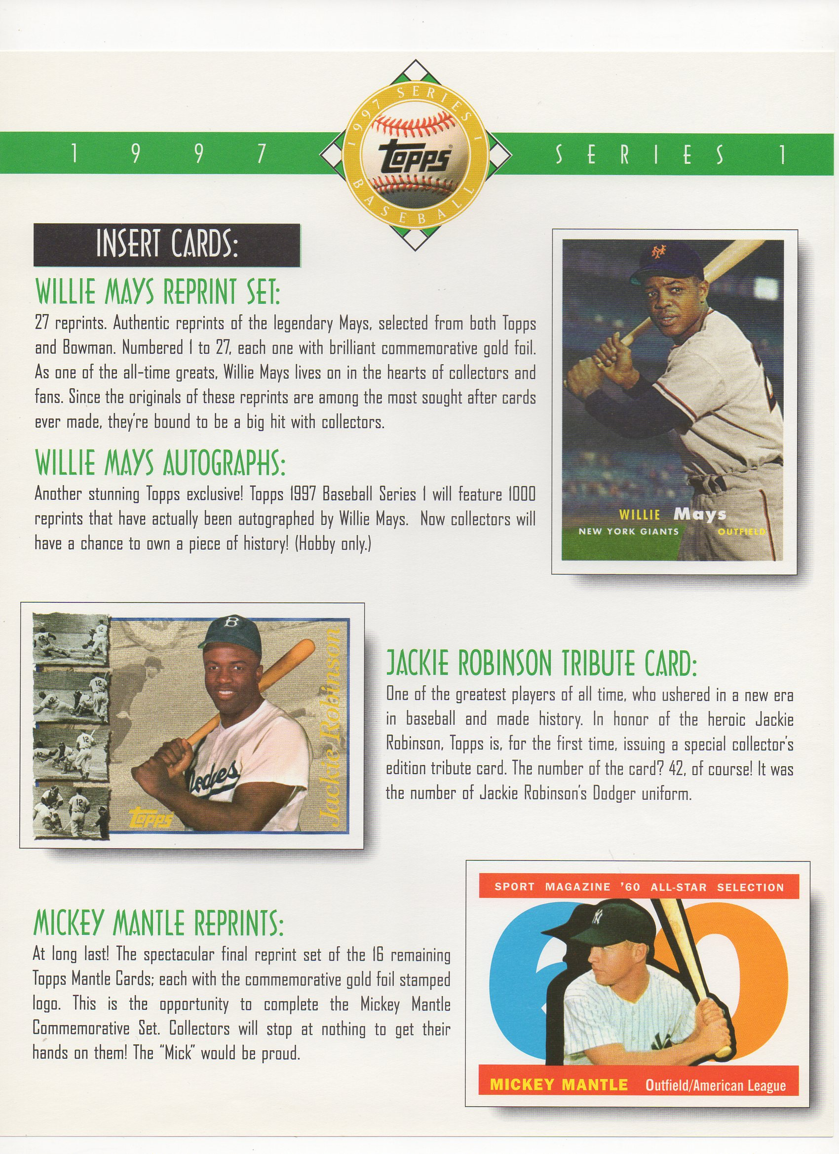 1997 topps dealer ad slick pack