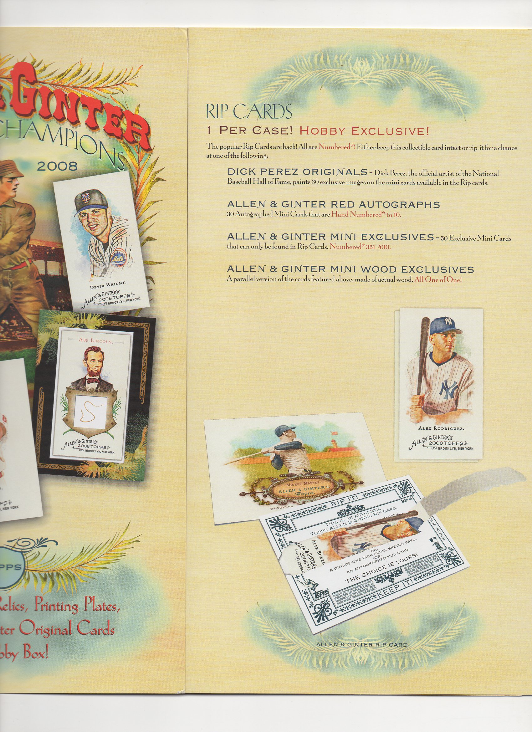 2008 topps 10 page heavy stock foldout
