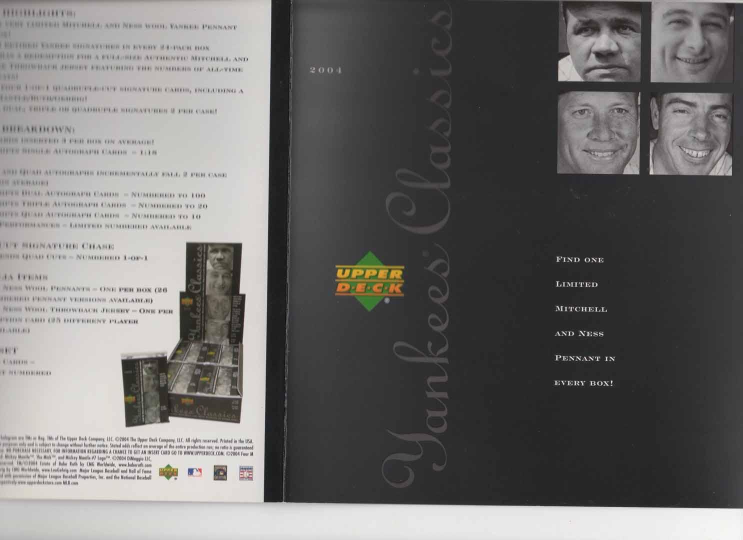 2004 upper deck 4 page boklet